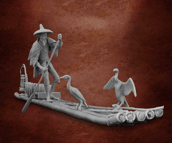 1/32 54mm Ancient Man Old Fisherman   Resin Figure Model Miniature Gk Unassembly Unpainted