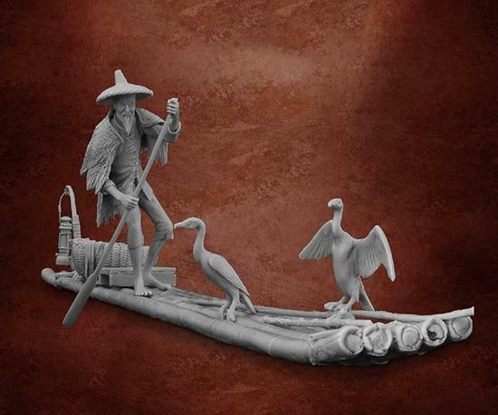 1/32 54mm Ancient Man Old Fisherman   Resin Figure Model Miniature Gk Unassembly Unpainted