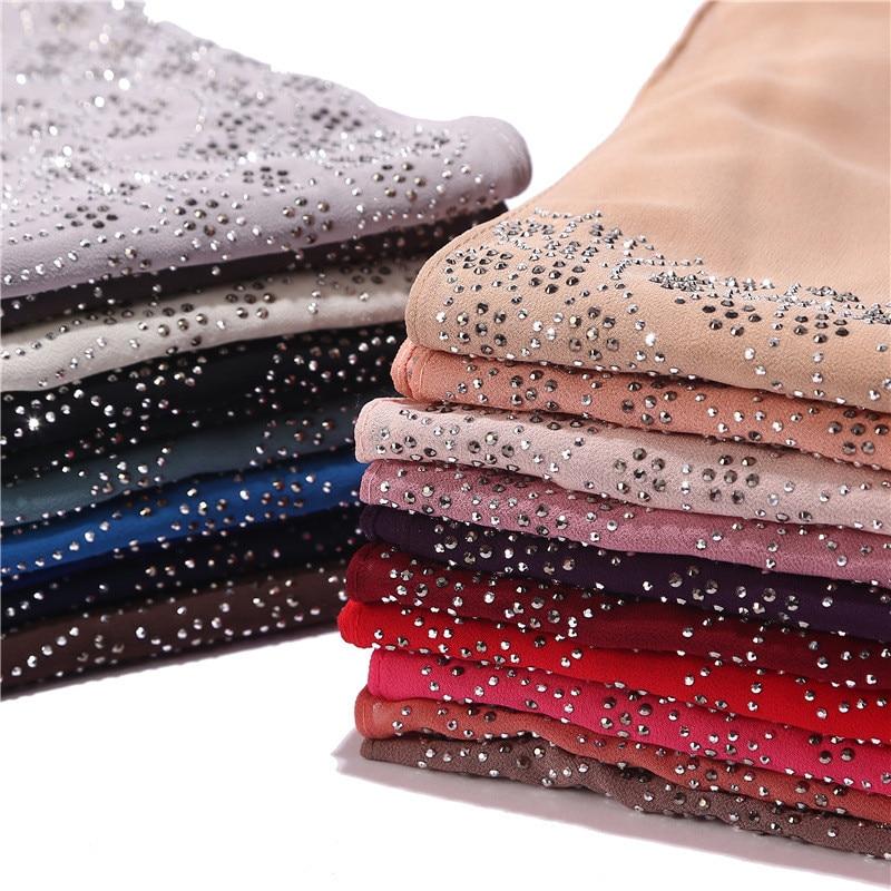 2019 NEW Women Rhinestone Chiffon Solid Color Muslim Head Scarf Shawls And Wraps Pashmina Bandana Female Foulard Hijab Stores