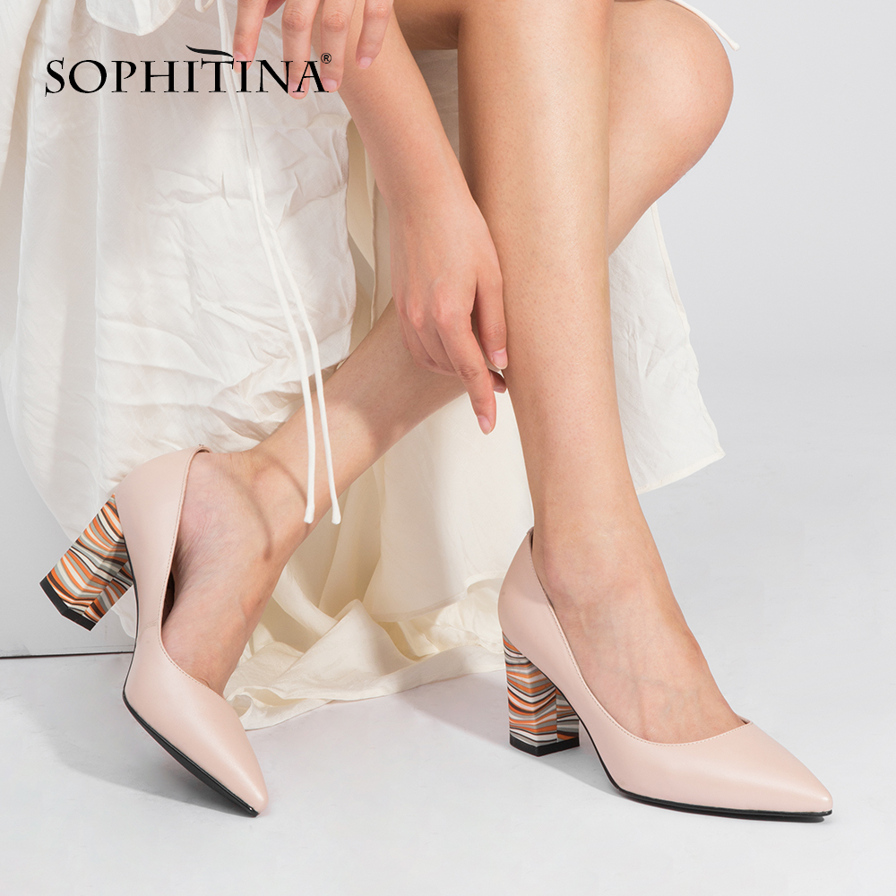 SOPHITINA Spring Autumn Women New Pumps Pointed Toe Square Heel High Solid Fashionable Ladies Shoes Patent Leather Pumps C165