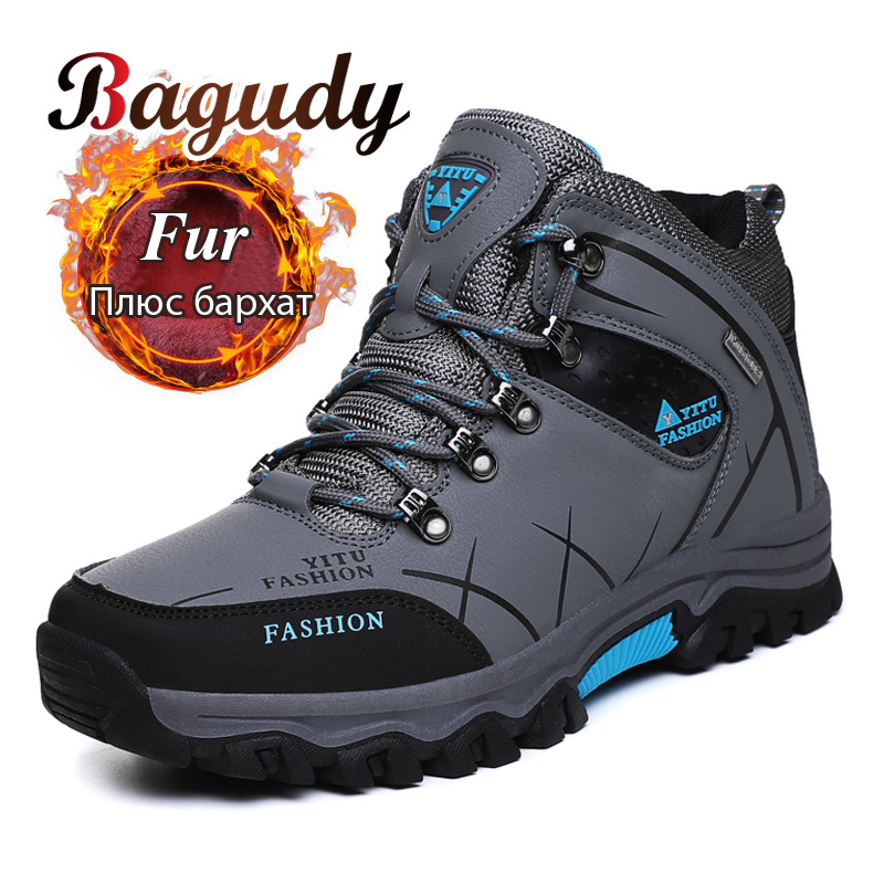 Men Winter Snow Boots Outdoor Male Hiking Boots Work Shoes  Super Warm Plush Comfy Autumn Winter Men Shoes Non-slip Leather Boot