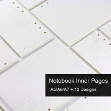 Recambio de cuaderno de hojas sueltas A5 A6 A7, carpeta espiral, diario de página interior, planificador mensual semanal, línea de lista, cuadrícula de puntos, papel interior