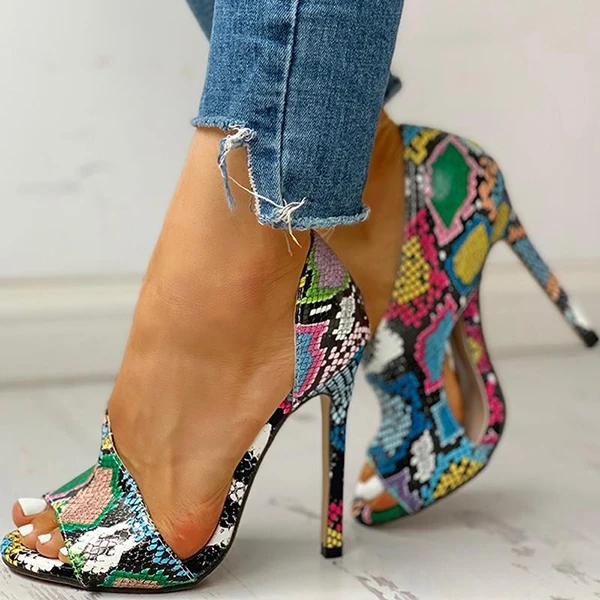 New Women Summer Sandals Fashion Solid Color Serpentine Casual Open Toe Super High Heels Fish Head Snake Ladies Pumps