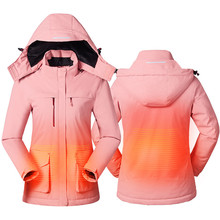 2019 Men Women USB heated Jacket Vest Winter Outdoor Lovers Long Hooded Heating Coat Electric Thermal Clothing Hiking Fishing
