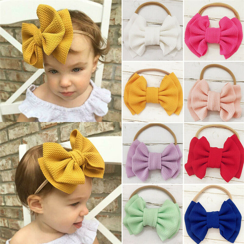 Newborn Baby Girls Headband Photography Props Accessories Toddler Kids Bowknot Head Wrap Princess Party Hair Band Headwear