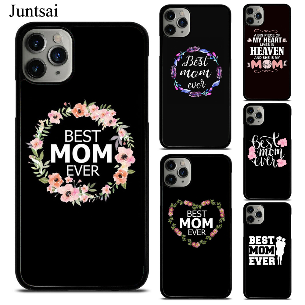 Juntsai Best mom ever quotes Case For iphone XR X XS 11 Pro Max SE 2020 6s 8 7 Plus 5S Cover TPU Rubber Phone Case image