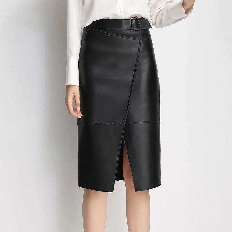 Skirts Womens Black Leather Skirt Midi Pencil Skirt Female Fashion Women's Wear In 2019 Winter Ladies Skirts