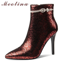 Meotina Winter Sheepskin Ankle Boots Women Natural Genuine Leather Zip Thin Heel Short Boots Crystal Super High Heel Shoes Lady lin king sexy high heeled women ankle boots solid nubuck leather platform thin heel martin boots office lady zip winter shoes