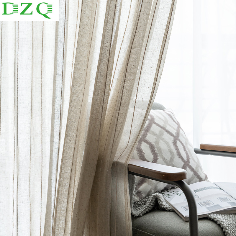 Solid Tulle Curtains for Living Room Bedroom Japanese-style Cotton Linen Sheer Voile Fabric for Curtains Window Treatments Blind