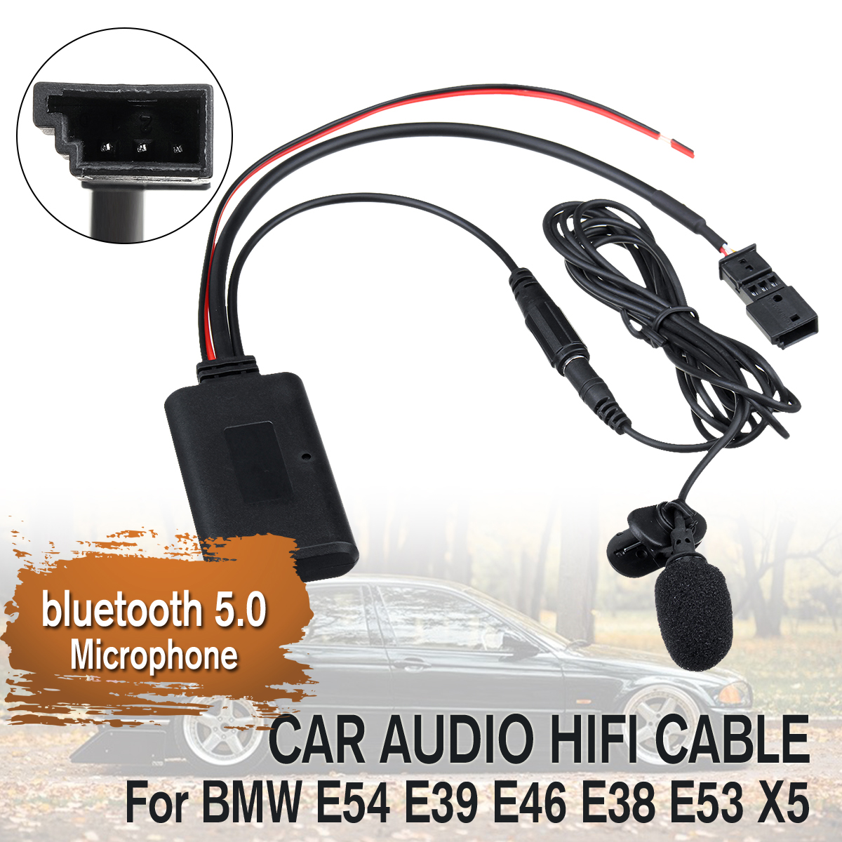 12V Car Audio Bluetooth 5.0 HIFI Cable Adaptor Microphone For BMW E54 E39 E46 E38 E53 X5