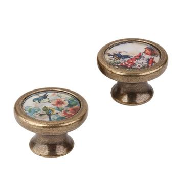 2pcs Vintage Style Metal Door Drawer Knobs Dresser Cabinet Cupboard Wardrobe Pull Handles Door Knobs Little Girl + Birds Flower цена 2017