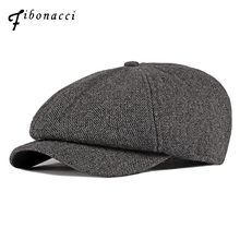 Fibonacci 2019 New Twill Wool Newsboy Caps for Men Octagonal Herringbone Pattern Tweed Beckham Ivy French Beret Hats(China)
