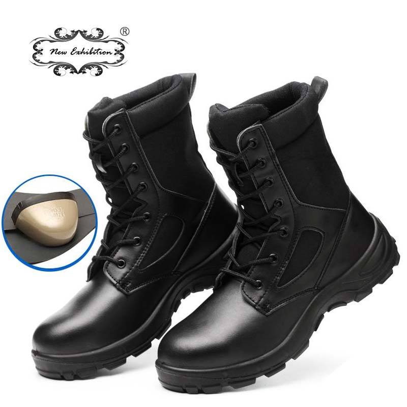 New exhibition Winter safety work Boots Men Outdoor Leather anti piercing Desert Tactical Safety Shoes Army Military Combat Boot|Work & Safety Boots|   - AliExpress
