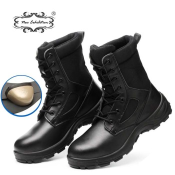 New exhibition Winter safety work Boots Men Outdoor Leather anti-piercing Desert Tactical Safety Shoes Army Military Combat Boot