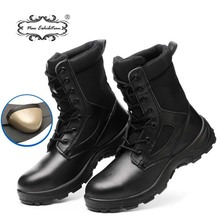New exhibition Winter safety work Boots Men Outdoor Leather anti-piercing Desert