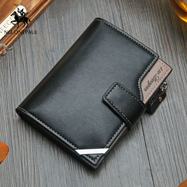NO.ONEPAUL Vintage Men's Short Wallet Men Genuine Leather  Multi-Card Bit Retro Card Holder Clutch Wallets Purses First Layer Re