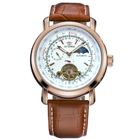 OUYAWEI New Mechanical Wristwatches Rose Gold Case Tourbillon Moonphase Automatic Winding Male Clock Business Watch Montre Homme