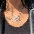 Custom Name Halskette Personalisierte Alten Englisch Stil Typenschild Edelstahl Splitter Halskette Für Frauen Boho Schmuck bijoux