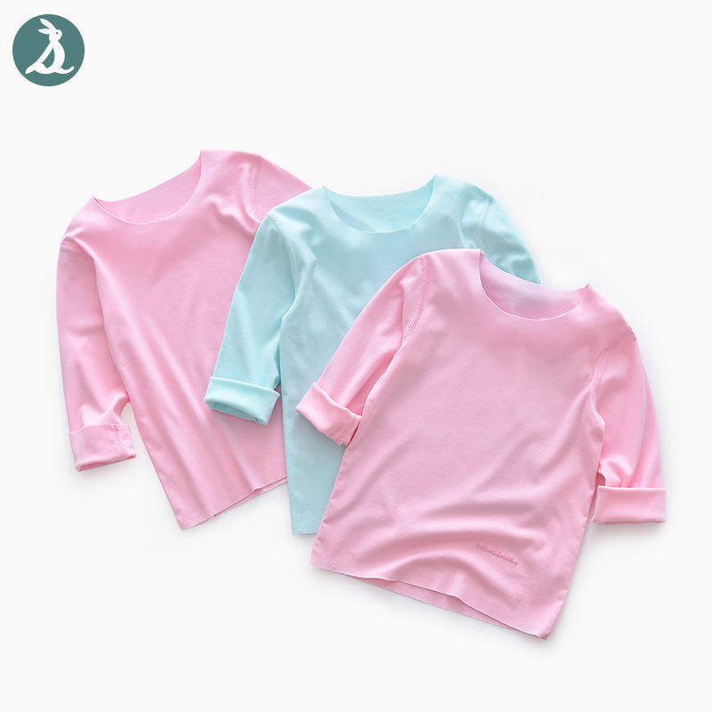 2019 Spring New Products Men And Women Children Loose-Fit Long-sleeved T-shirt Free Form Cut Fabric Thin Textured Sense Of Touch
