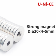 цена на 5pcs Ring Block Craft Permanet Magnet Powerful Rare Earth Ndfeb Neodymium Magnets  20mm x 4mm Hole 5mm N35