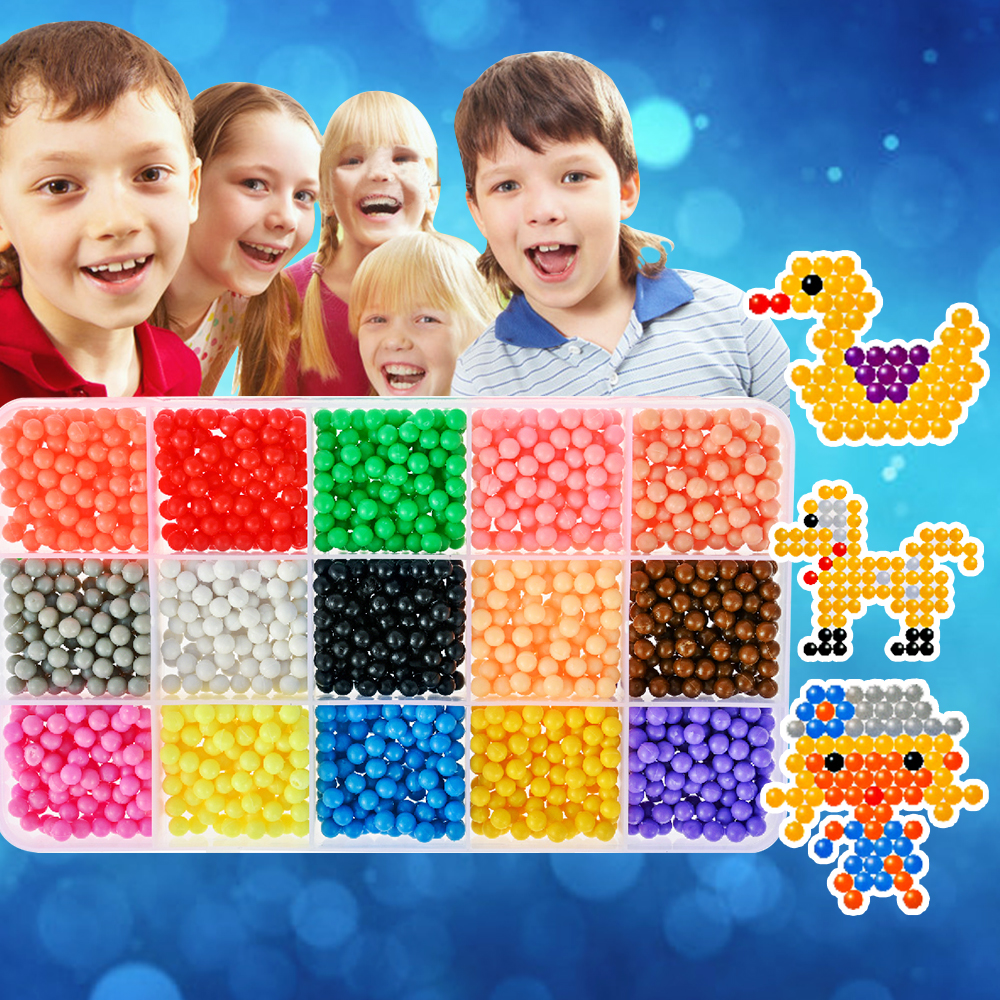 11-in-1 Set Kids Magic Beads Puzzle Toys Colorful Aqua Water Hama Beads 3D Handmade Toys Bead + Pegboard Set For Boys And Girl(China)