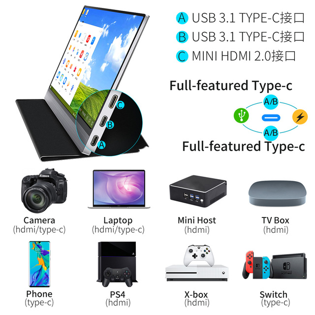 "Ultra thin 13.3"" inch 4K Type-C portable monitor for phone laptop PS4 Switch Xbox gaming monitors LED screen display USB C HDMI"