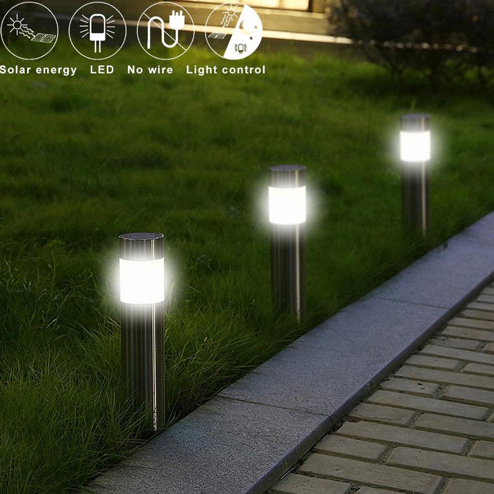 Stainless Steel LED Solar Lawn Light For Garden Decor Outdoor Waterproof IP65 Bollard Solar Stick Lights White Light