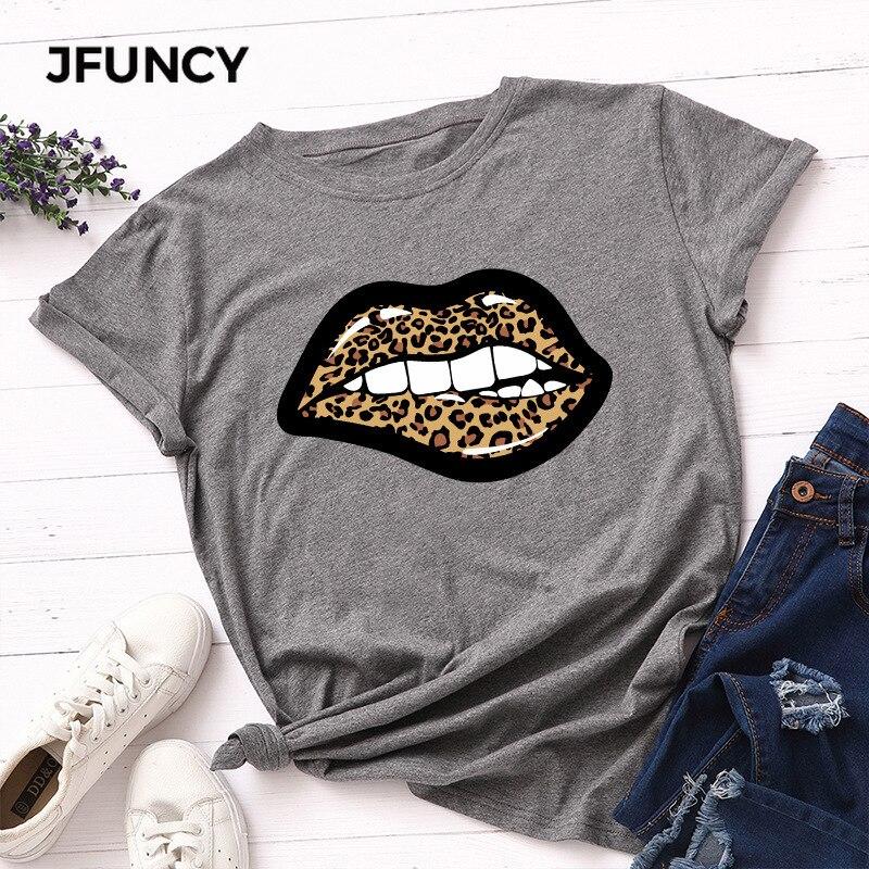 JFUNCY 100% Cotton Summer Women T Shirt Sexy Leopard Lips Print Woman T-shirt Plus Size Loose Short Sleeve Female Tee Tops