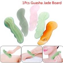 1pc 5color New Design Natural Jade Stone Skin Care Massage Facial Spa Tool Gua Sha Board Body Scraping