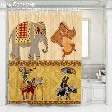 Elephant Shower Curtains African American Women Bathroonm Shower Curtains 3D Bath Curtain Waterproof Fabric Bathroom Screen 3d elephant pattern bathroom waterproof shower curtain
