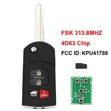 Pieghevole di Vibrazione 3 + 1/4 Tasto Chiave A Distanza Dellautomobile Fob FSK 313.8MHZ 4D63 80bit Chip FCC ID: KPU41788 per Mazda M6/M2/3/6/RX 8 Uncut Lama