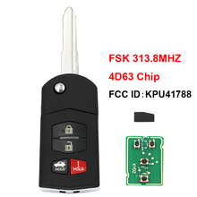 Plegable, abatible 3 + 1/4 botón mando a distancia de coche FSK 313,8 MHZ 4D63 80 chip de bits FCC ID: KPU41788 para Mazda M6/M2/3/6/RX 8 hoja sin cortar