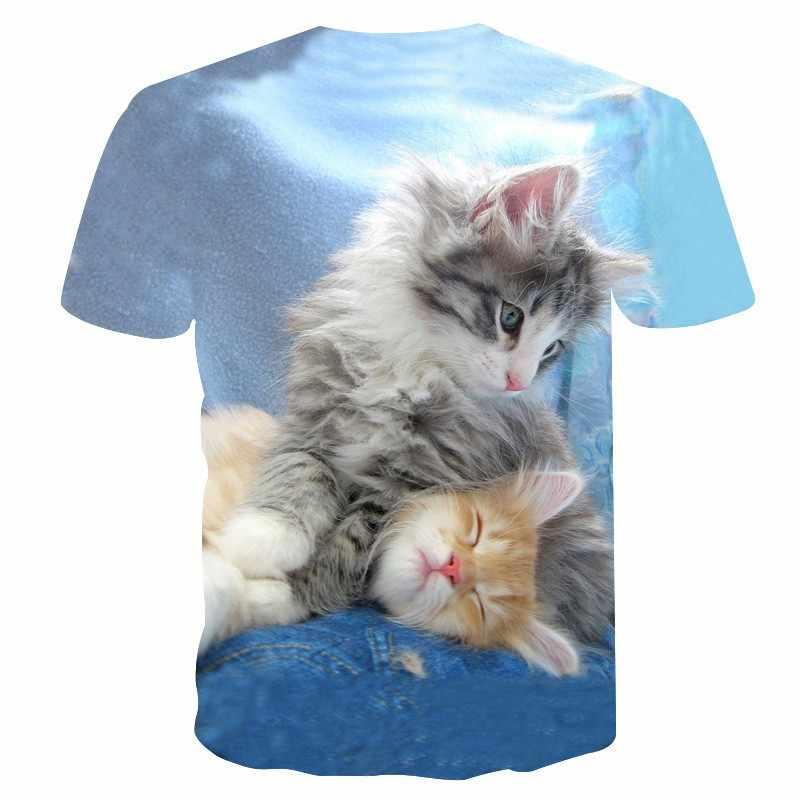 Estate nuovo sveglio catty 3D tshirt Per Gli Adulti bambini Casual Animale di Modo di trasporto T-Shirt comoda dimensione Europea top