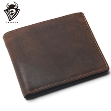 Vintage Cowhide Mens Wallet With Card Page Genuine Crazy Horse Leather Man Purse Male Credit&Id Multifunctional Brown Wallets