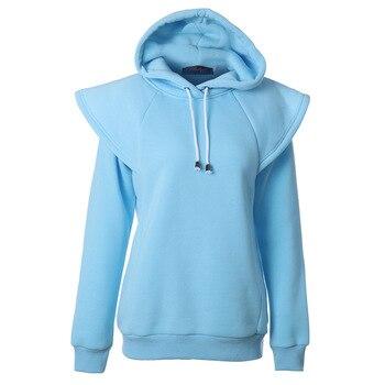 Fall 2020 new Hoodie women's long sleeve solid Sweatshirt Hoodie casual raglan sleeve drawstring Pullover long sleeve striped trim raglan sleeve jacket
