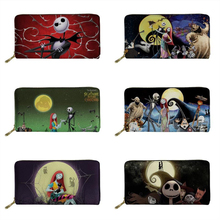 FORUDESIGNS Luxury Women Long Wallets Nightmare Before Christmas Print Gothic Ladies Purse Card Holder Passport Phone Money Bags
