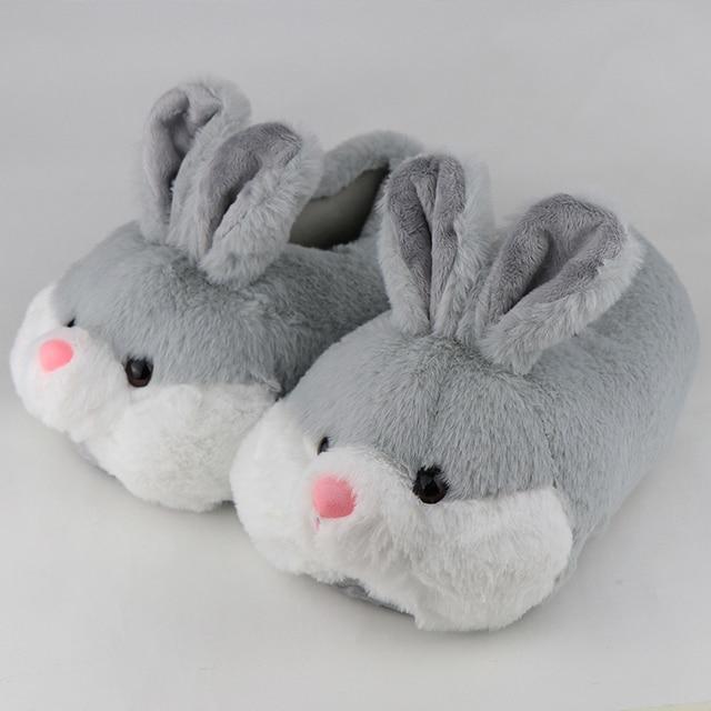 pantoufles lapin grise 6