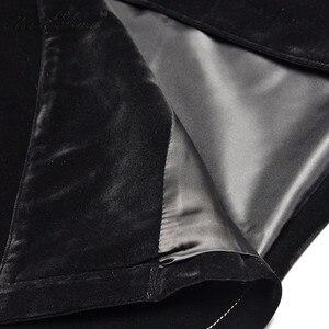Image 5 - MoaaYina créateur de mode piste longue coupe vent pied de poule à manches longues Patchwork velours coupe vent manteau