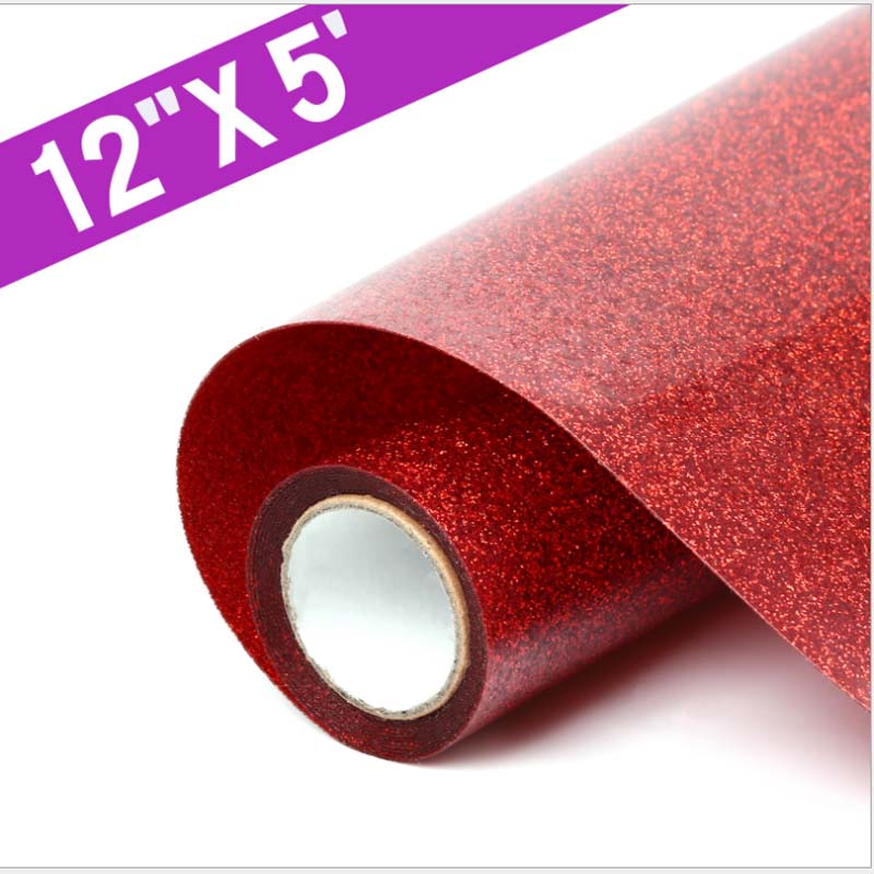 12''x5' Glitter Heat Transfer Vinyl Bundle Paper Iron On Vinyl Heat Press Vinyl Sheets for DIY T-Shirt Clothes Textile Craft