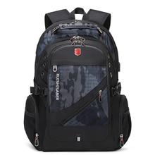 RUISHISABER رجل مقاوم للماء على ظهره صالح 17 بوصة محمول USB شحن حقيبة ظهر للسفر حقيبة مدرسية متعددة الطبقات جيب الذكور Mochila