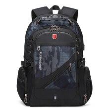 RUISHISABER wodoodporny plecak męski Fit 17 Cal na laptopa z ładowaniem USB podróżny plecaki szkolne torba wielowarstwowa kieszeń mężczyzna Mochila