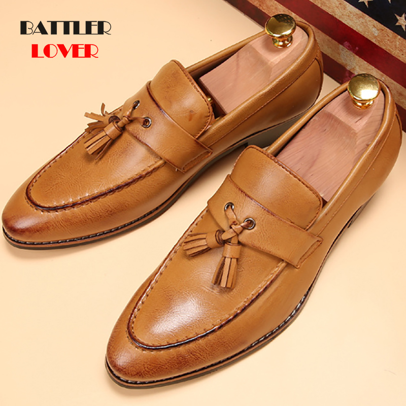 Luxury Brand Genuine Leather Pointed Toe Business Brogue Shoes Men Dress Casual Soft Rubber Shoes Men
