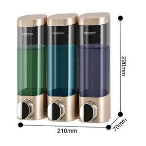 Image 4 - トリプルソープディスペンサーウォールマウントシャンプーディスペンサー洗剤シャワージェルボトルゴールド 300 ミリリットルプラスチック浴室アクセサリー家庭用