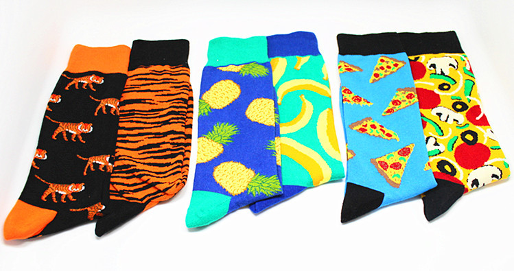 Long Cotton Socks Cartoon Abstract Painting Series Men's Fashion 19 Good-looking Socks LOGO Left and Right Feet Different Styles