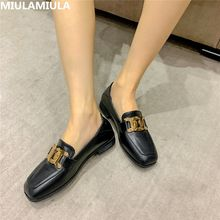 Luxury New Golden Metal Chain Woman Flats Square Toe Socofy Black Brown British Loafers Square Toe Ladies Shoes Casual Moccasins(China)