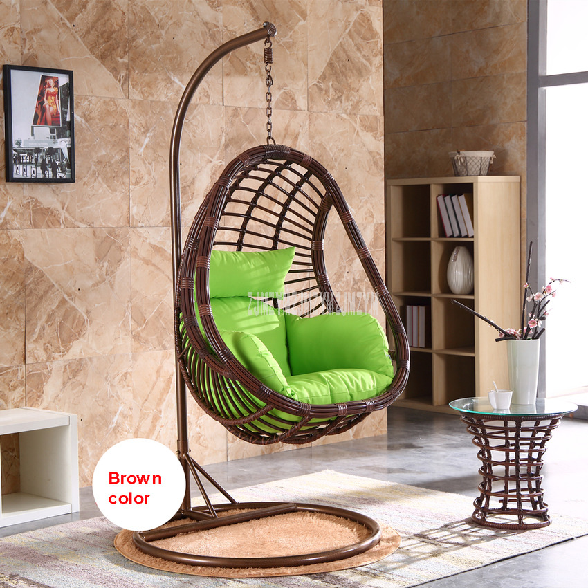 Single Swing Seat PE Rattan Weave Swing Hanging Chair With Soft Seat Cushion Home Balcony Leisure Living Room Single Lazy Chair
