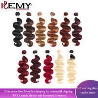 Blond Brown Red Color Human Hair Bundles 1PC Brazilian Body Wave Human Hair Extension 8-26 Inch Non-Remy Hair Weave Bundles KEMY