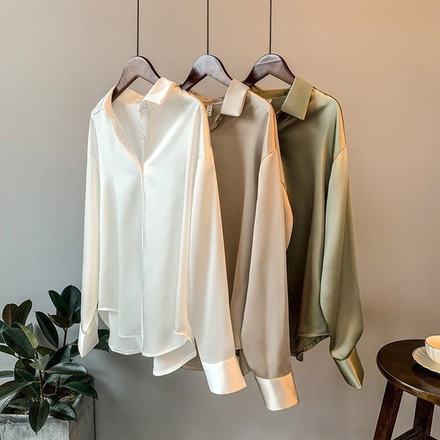 High Quality Elegant Imitation Silk Blouse Spring Women Fashion Long Sleeves Satin Blouse Vintage Femme Stand Street Shirts 1