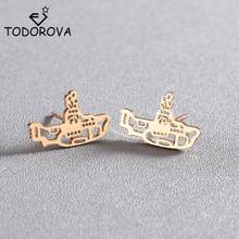 Todorova Ocean Collection Boat Stud Earrings for Women Geometric Jewelry Navy Submarine Earrings Statement Earrings Girls Gift(China)