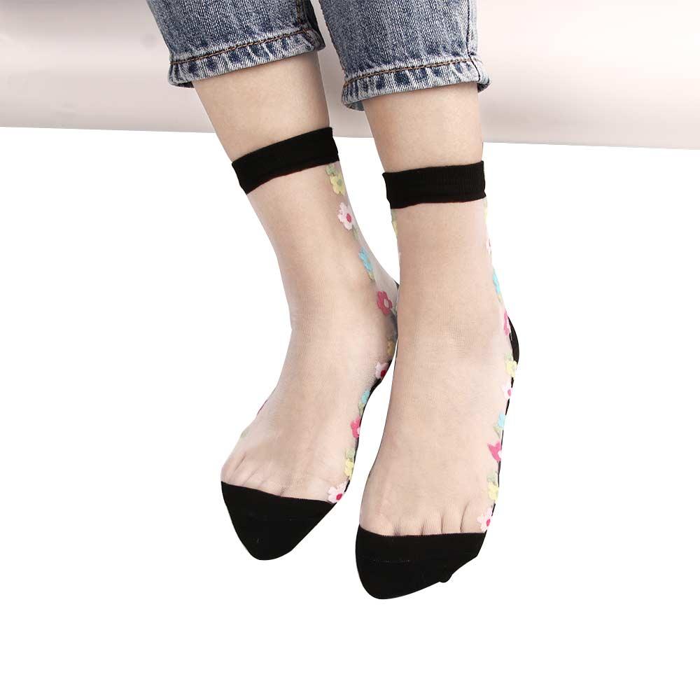 1 paar Frauen Spitze Socken Transparent Elastische Mesh Kurze Dünne Rosen Blume Socken Frauen Silk Kristall Blume Kurze Socken